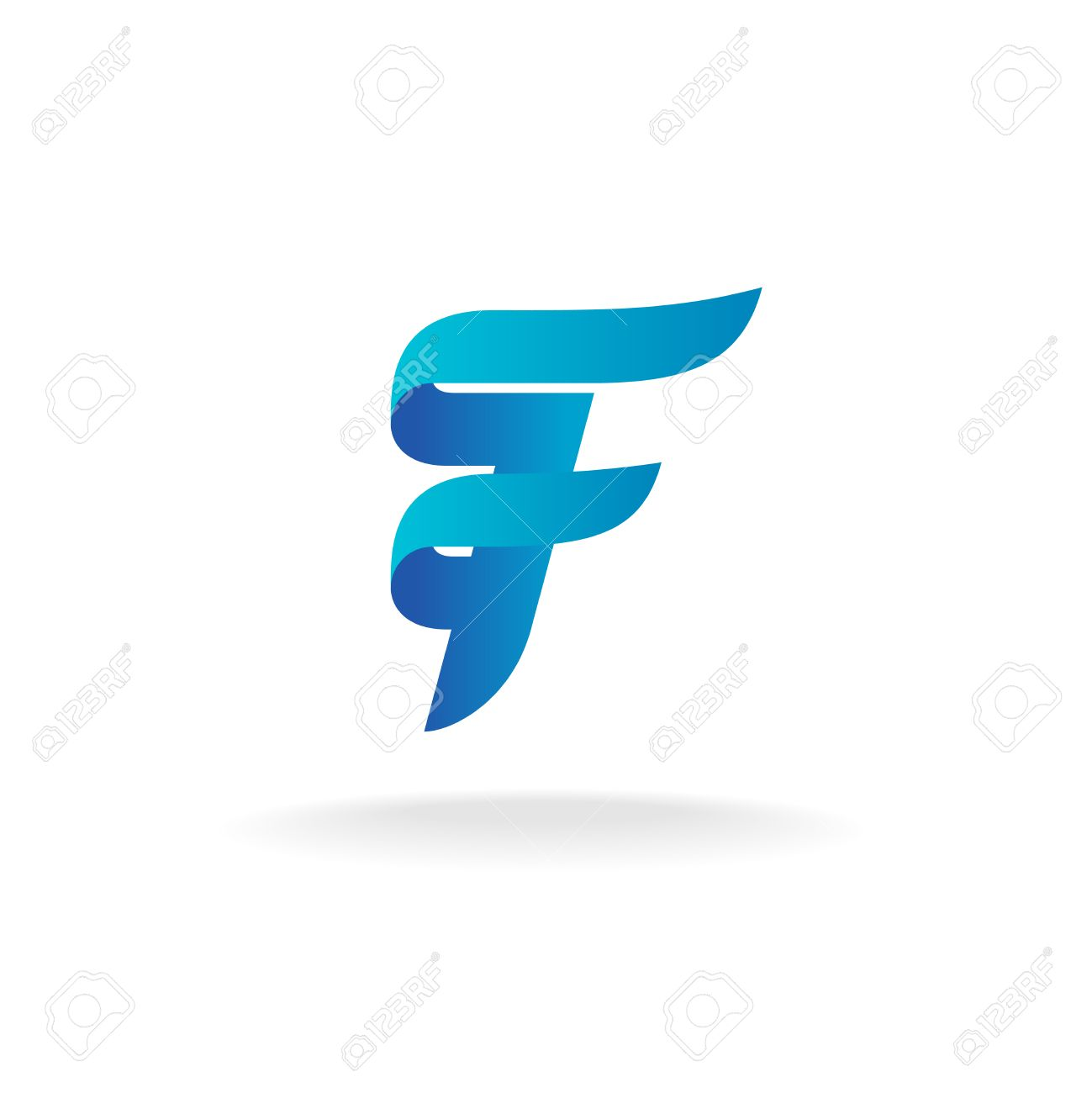 Letter F Logo Elegant Smooth Lines Color Ribbon Style Stock Vector