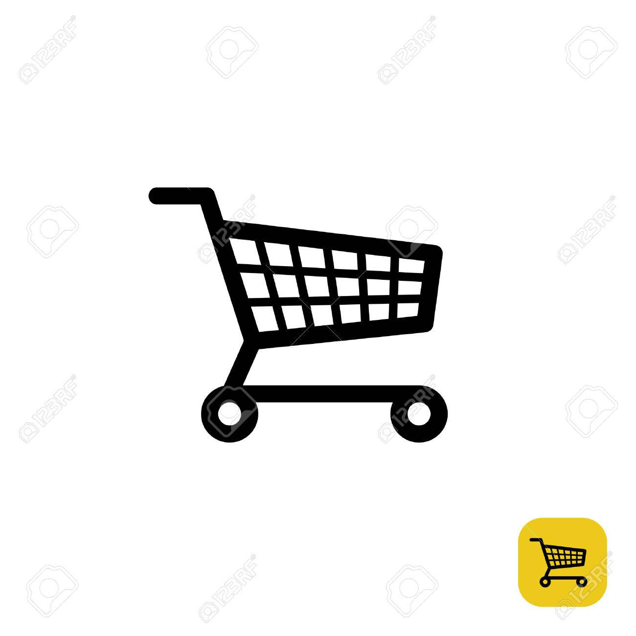 Shopping cart simple black sign - 47974454