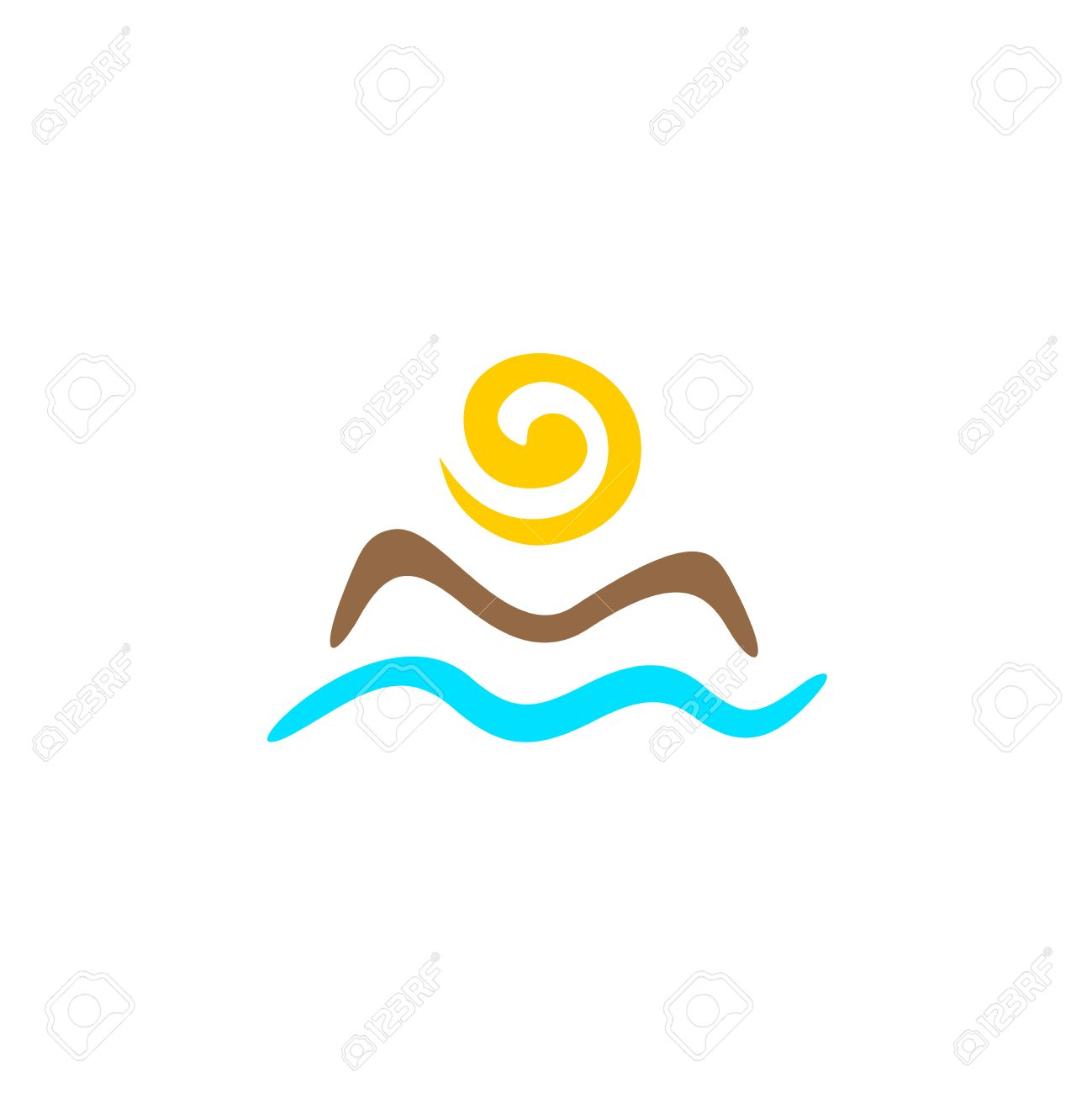 sun with mountain silhouette and sea waves abstract logo template