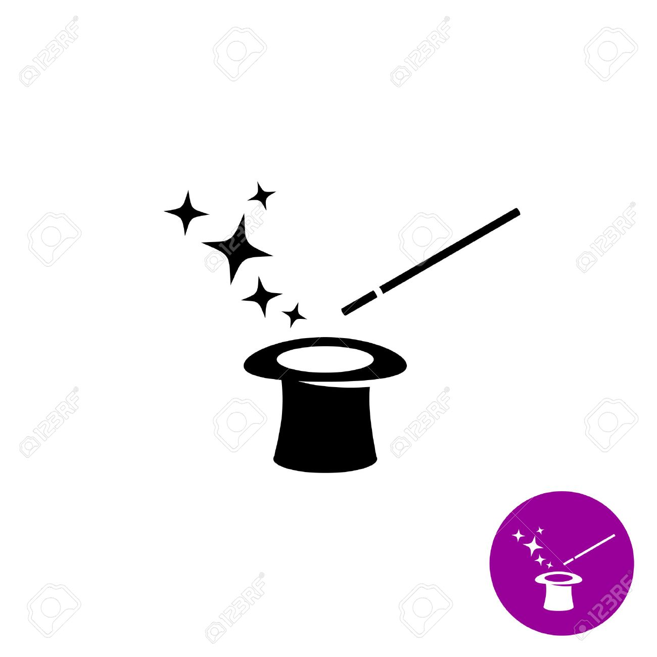 Magic wand with magician hat and stars black symbol - 46448225