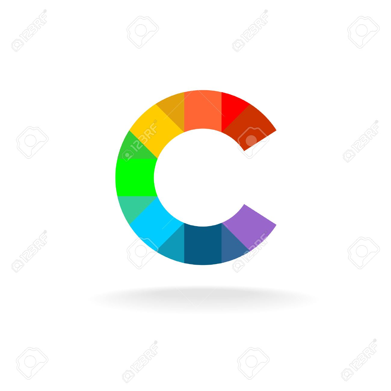 letter c colorful rainbow logo overlay particles style royalty