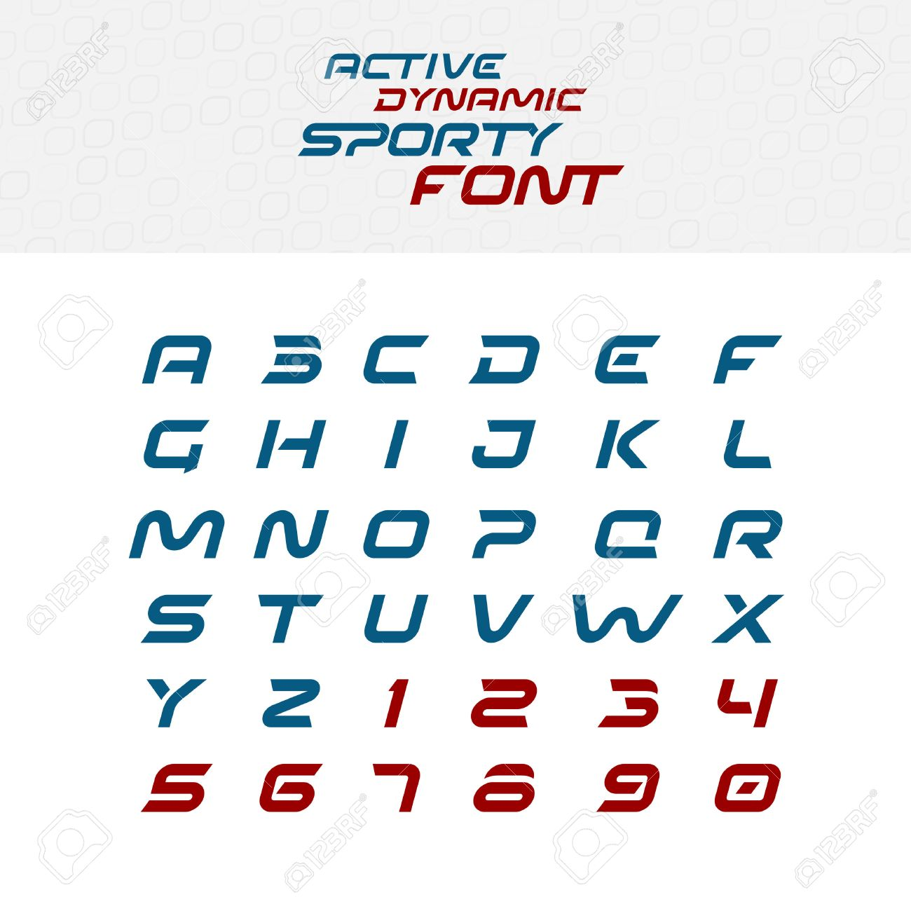 Sport Techno Font Alphabet Letters Skew Italic Dynamic Typeface Capital And Numbers
