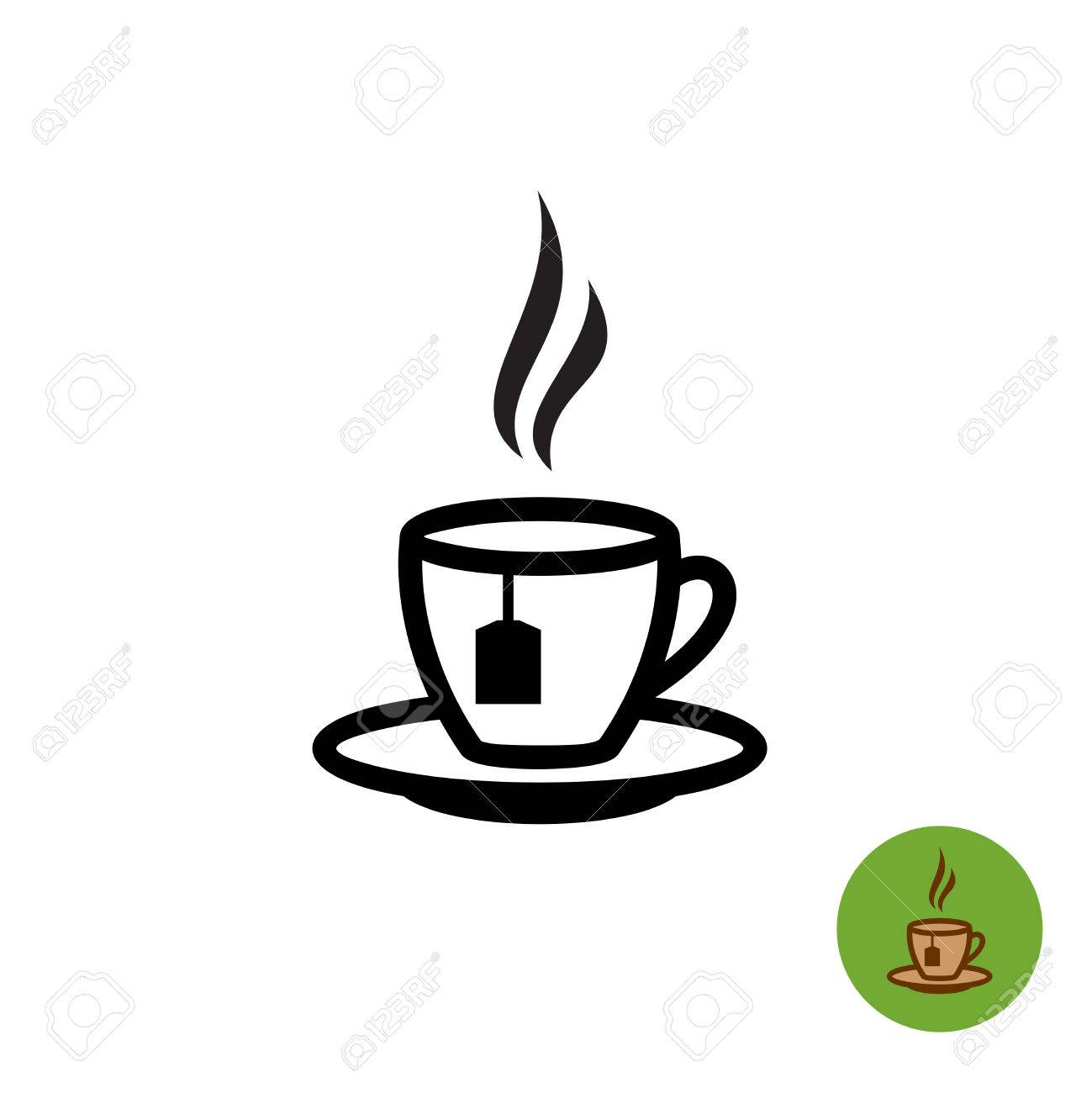tea cup black outline silhouette with teabag and fume icon royalty