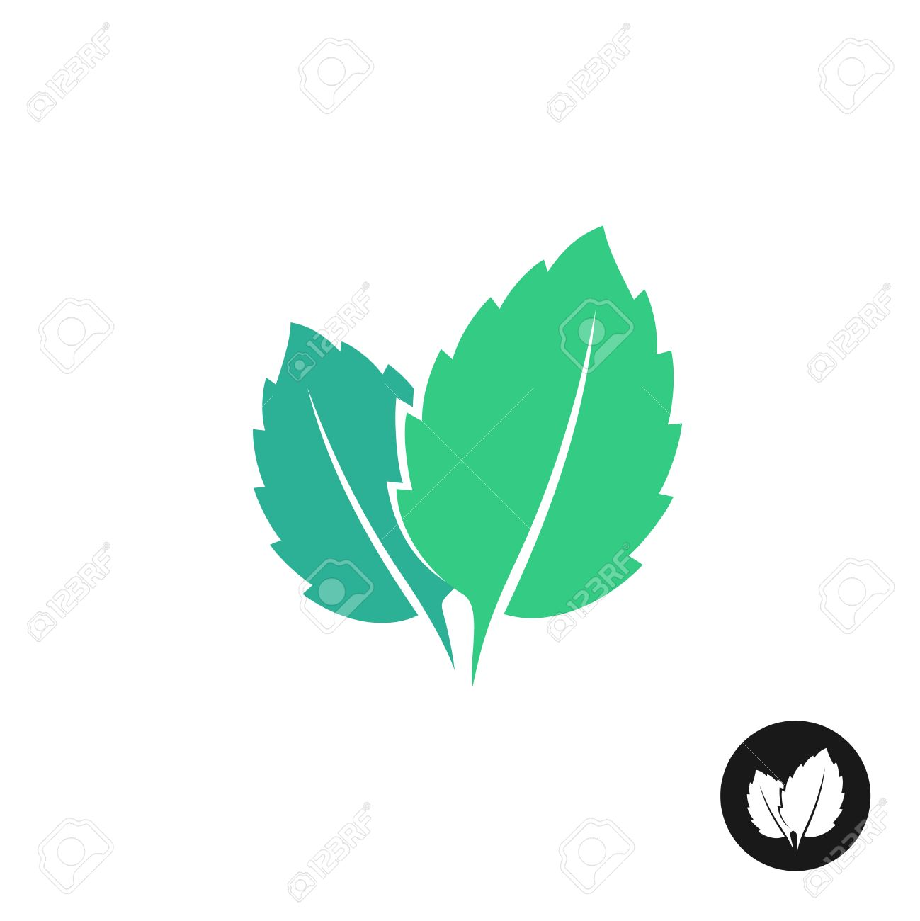 mint leaves vector icon two leaves of a mint with one color rh 123rf com leaves vector free leaves vector images