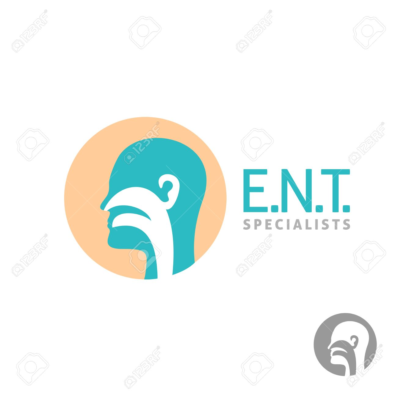 ent icon template head silhouette sign for ear nose throat