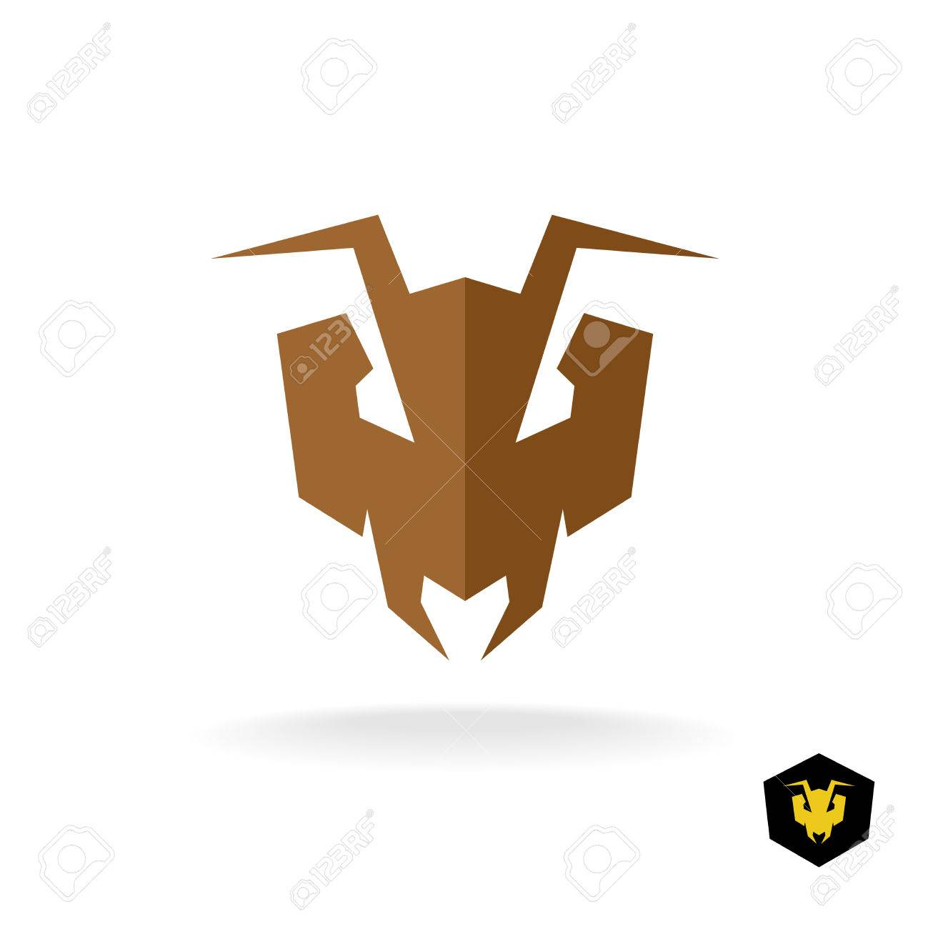 Serious Face Of The Predator Bulldog Ant Stylized Sign Stock Vector