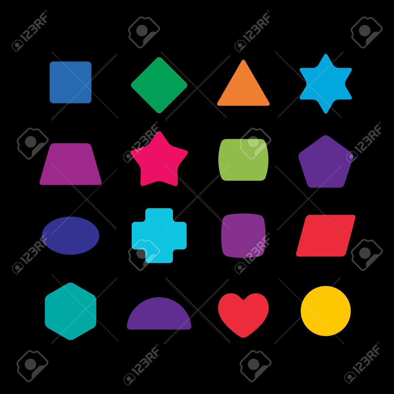 Geometric colorful rounded corners shapes set for learning toys. - 54919095