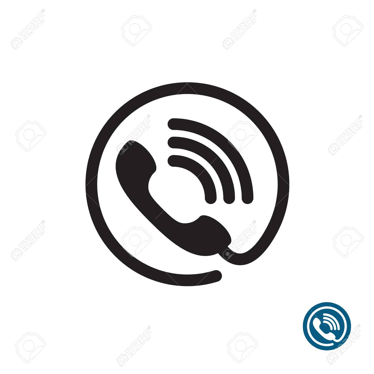 Phone Black Simple Icon. Round With Wire And Sound Waves Symbol ...