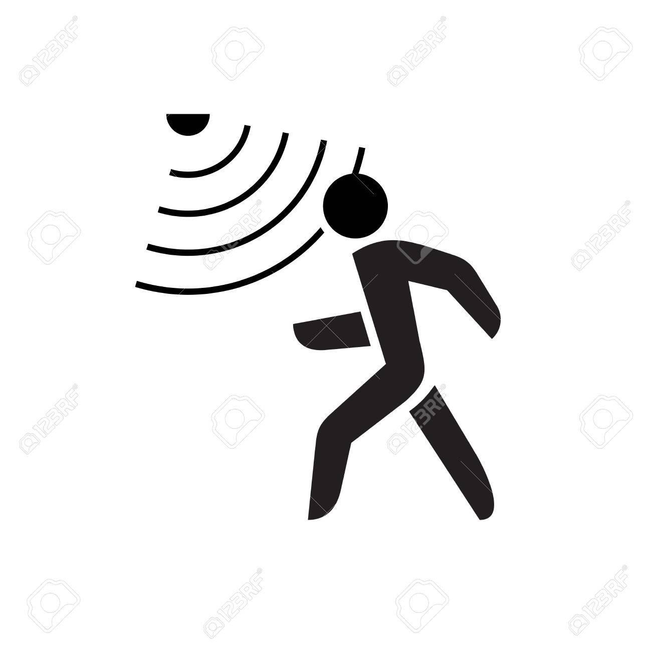 Walking man symbol with motion sensor waves signal. - 54919344