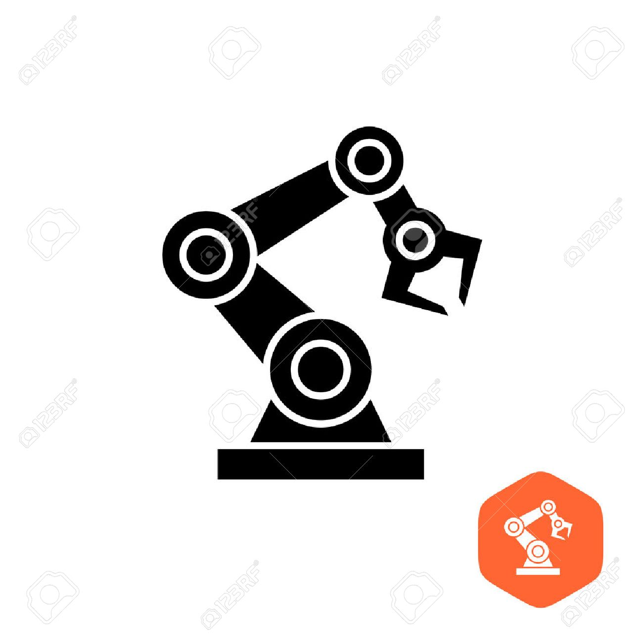 Robotic hand manipulator black silhouette symbol icon. Robot limb . - 54919437