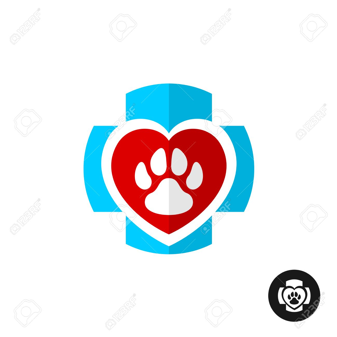 pet paw love symbol with medical cross vet clinic logo home