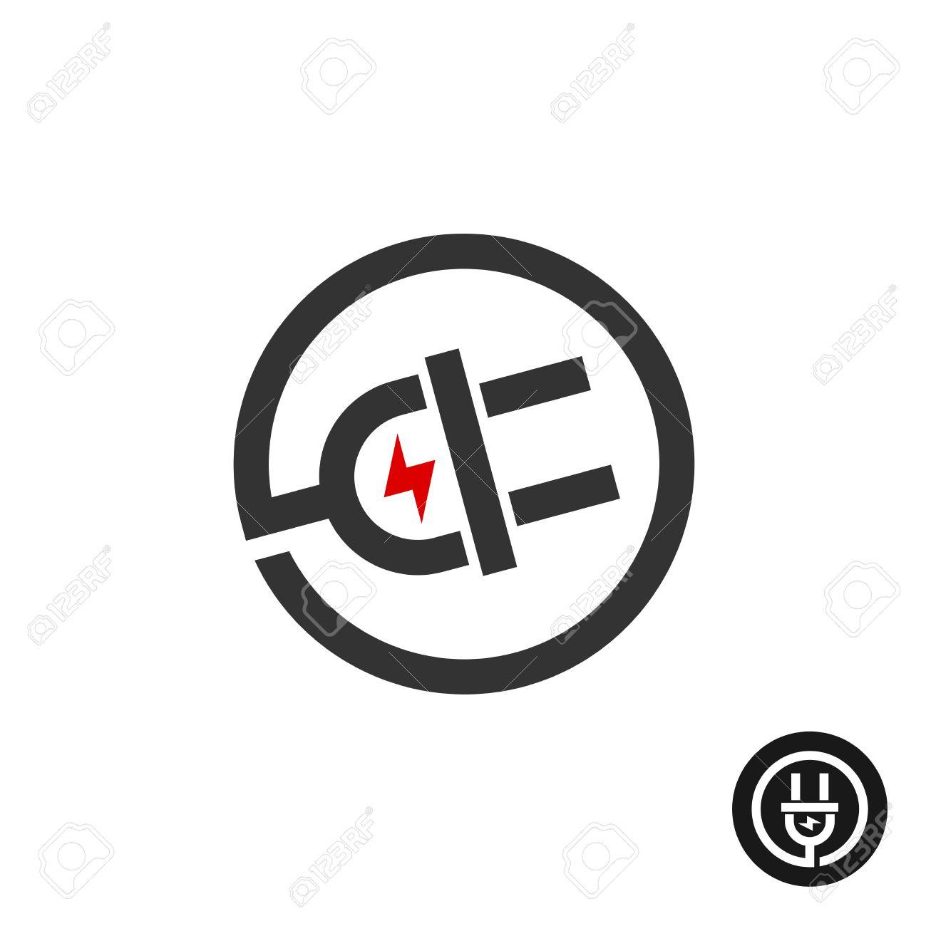 Elektro-Stecker In Wire-Symbol. Stromquelle Logo Mit Blitz ...