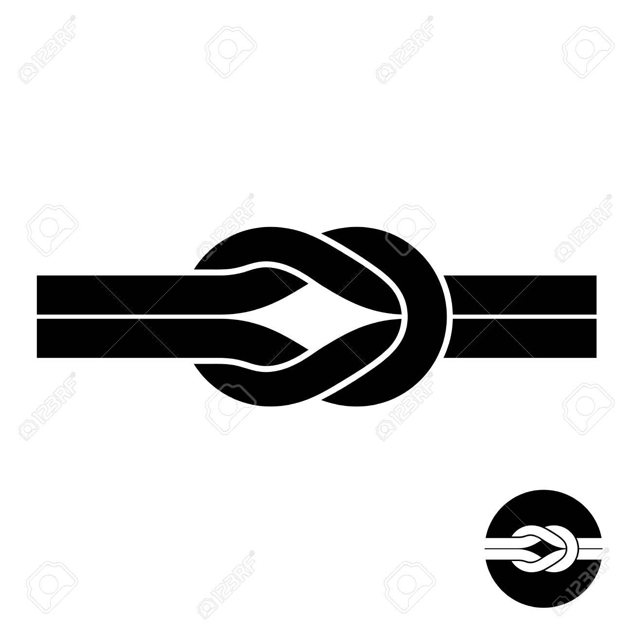 Knot Black Symbol. Two Wire With Loops Logo. Royalty Free Cliparts ...