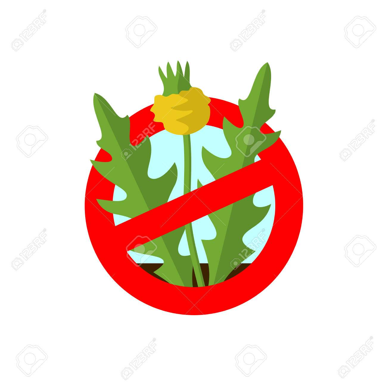 Lawn weed malicious restriction sign. Garden weed silhouette with red round prohibition sign. - 63531379