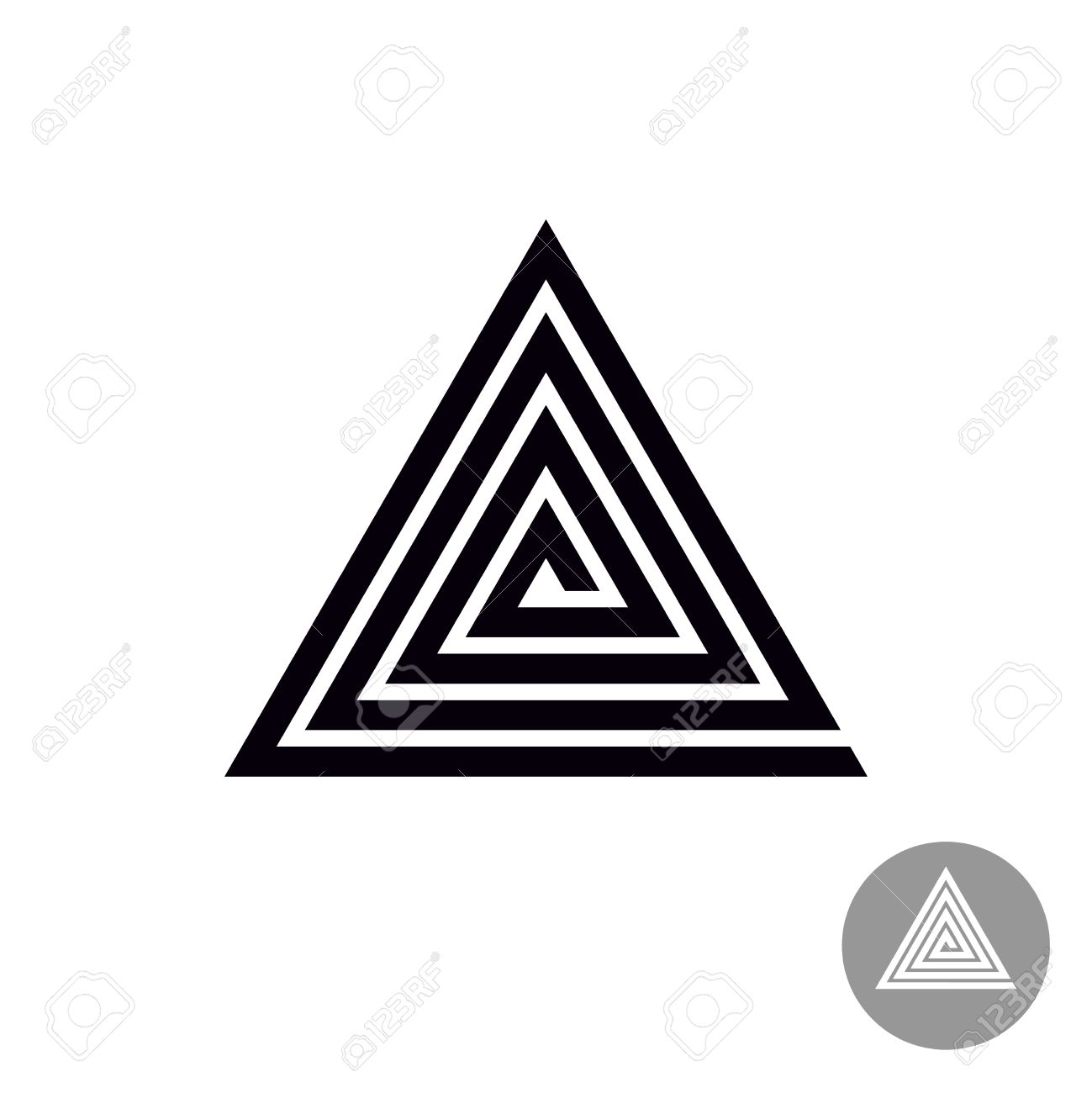 Triangle Spiral Geometric Symbol Tribal Style Abstract Royalty Free