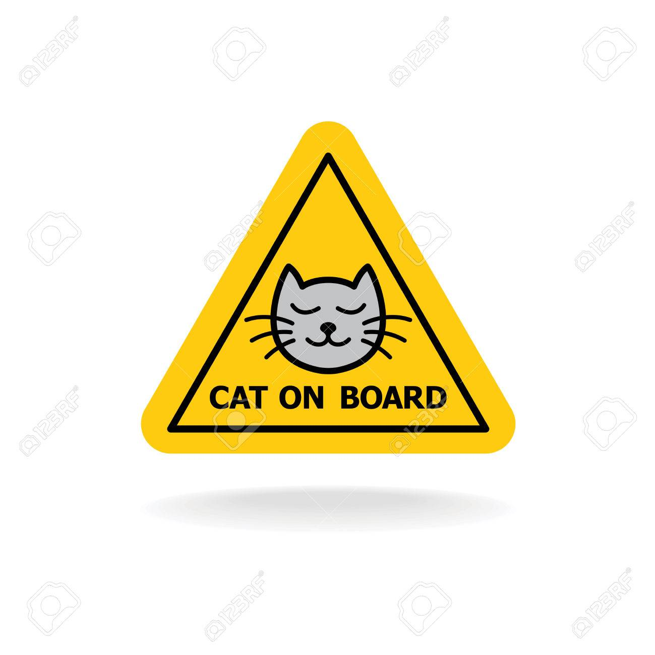 Cat on board sign similar to baby on board or kid in a car triangle yellow auto sticker. - 63532303