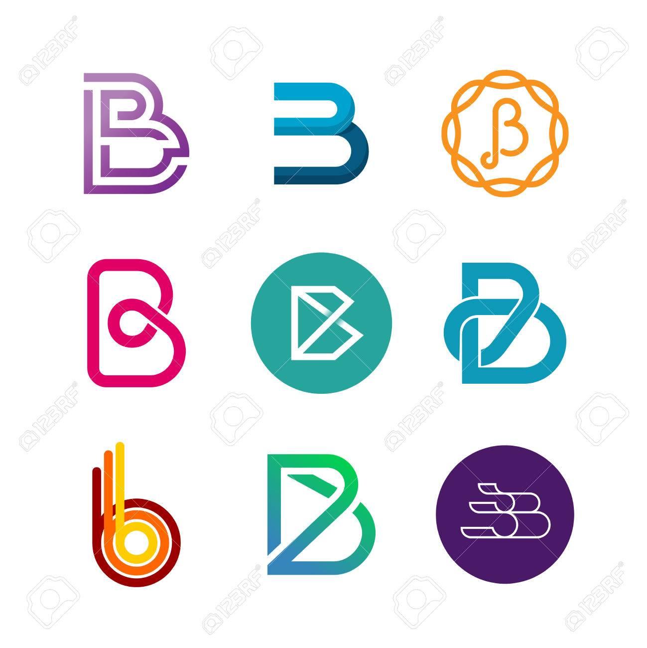 Letter B Logo Set. Color Icon Templates Design. Stock Photo, Picture ...