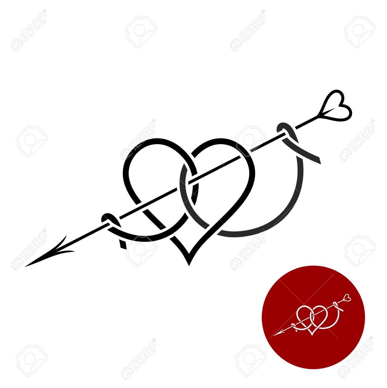 Très bien Coeur Avec Logo Linéaire De Style De Tatouage De Flèche. Amour #VE_53