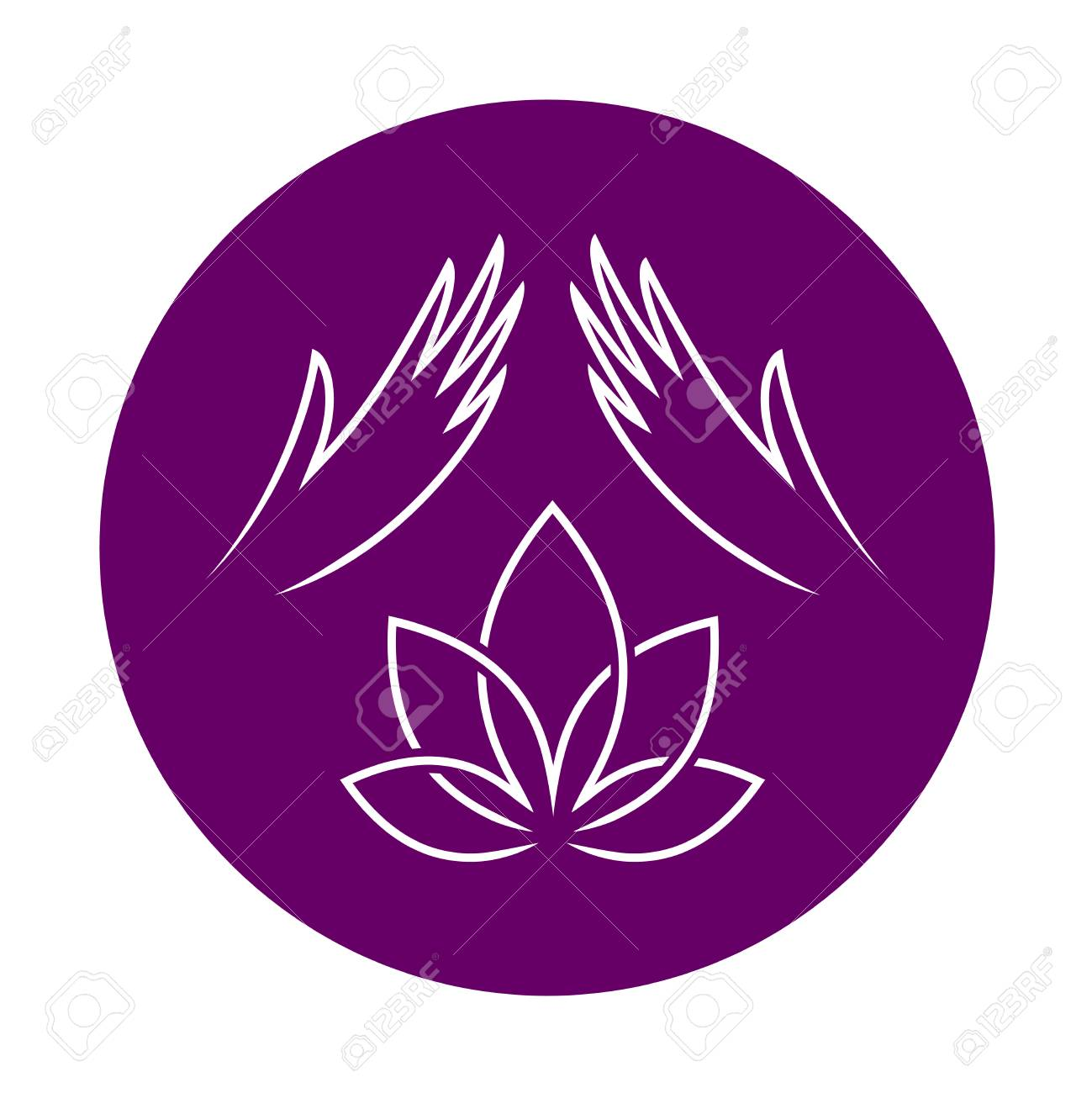 Massage With Elegant Woman Hands And Lotus Flower Massage Therapy