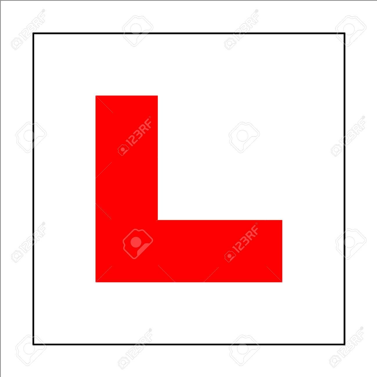 Learner driver plate sign. Car driving school beginner symbol. Red letter L on square white background sticker. - 88754631