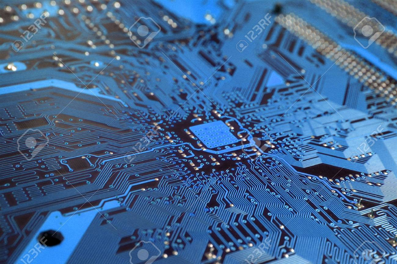 A close up of a blue computer circuit. Stock Photo - 6709884