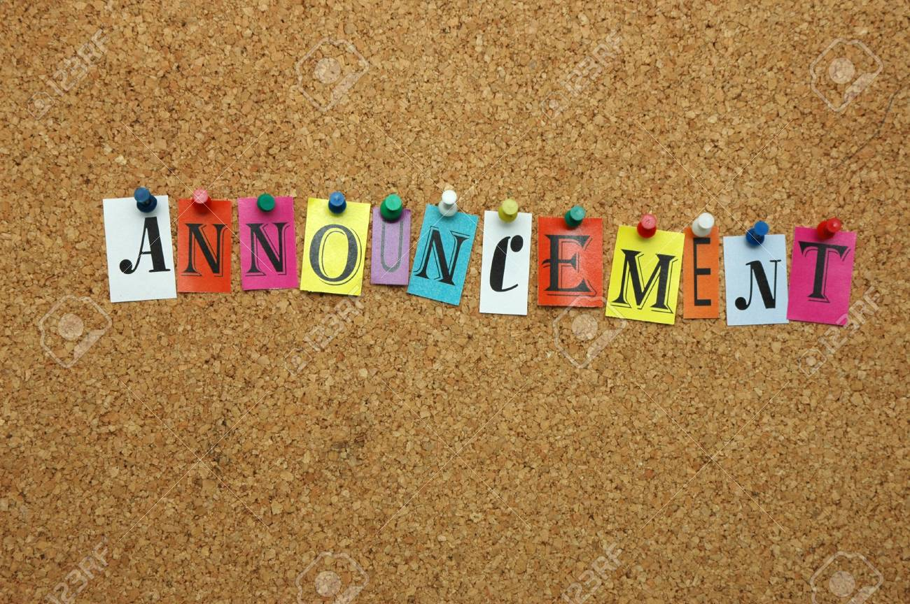 Announcement pinned on noticeboard Stock Photo - 8644190