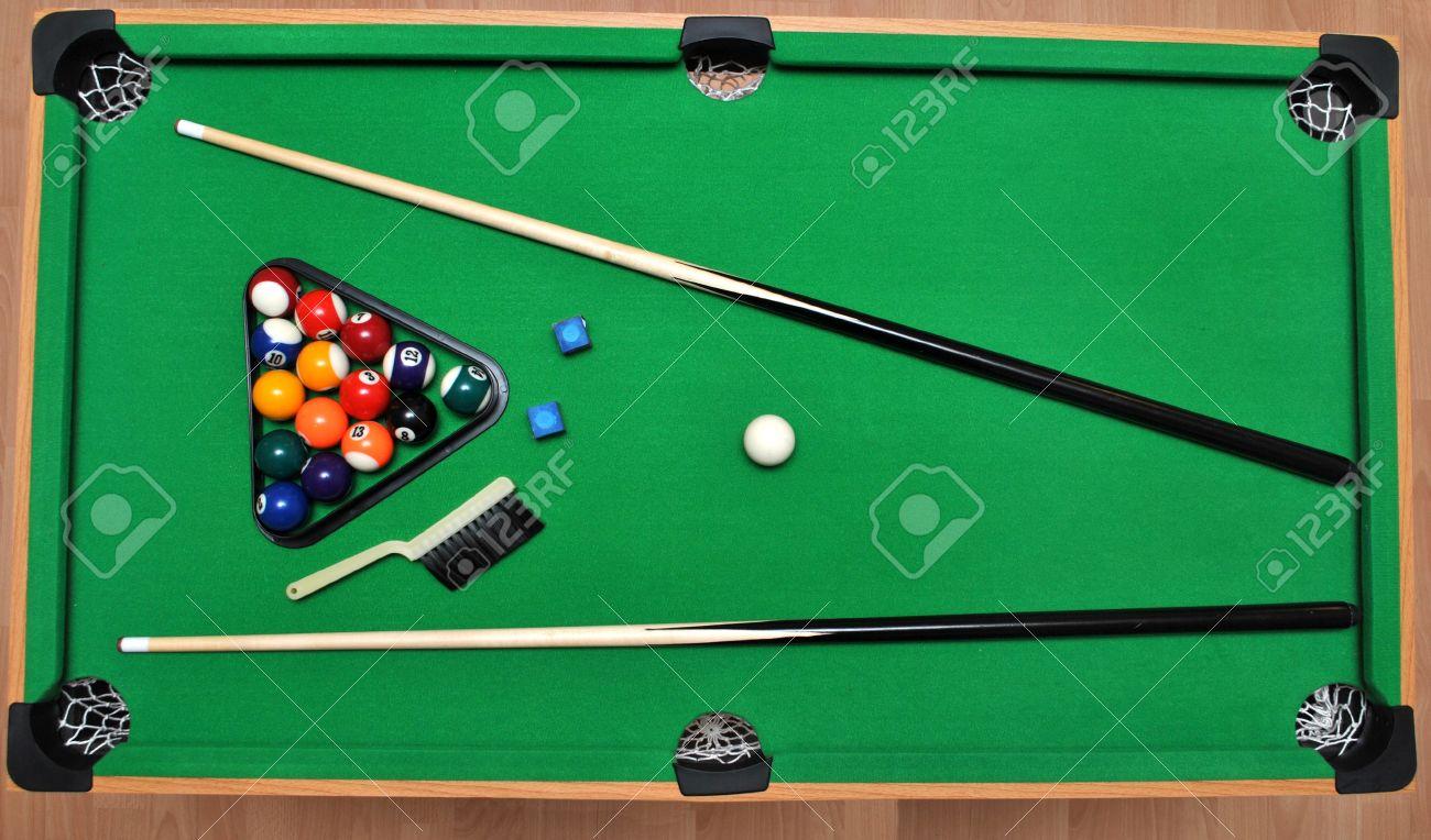 set for billiards on billiard table stock photo