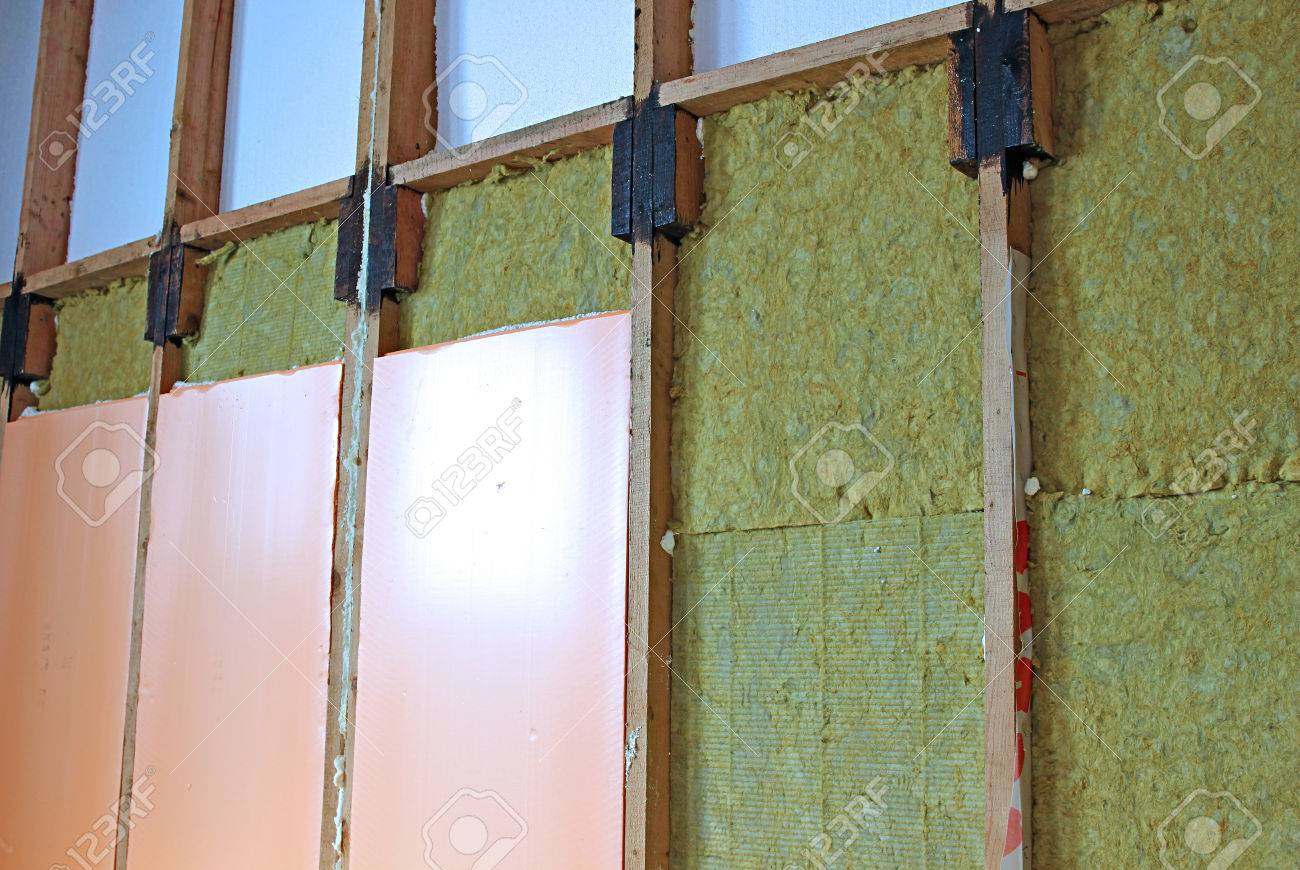 Construction Of Walls Of A Frame House With Different Types Of Heat  Insulation Stock Photo