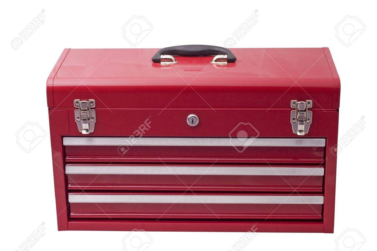 red metal tool box with three drawers and chrome latches Stock Photo - 2005756