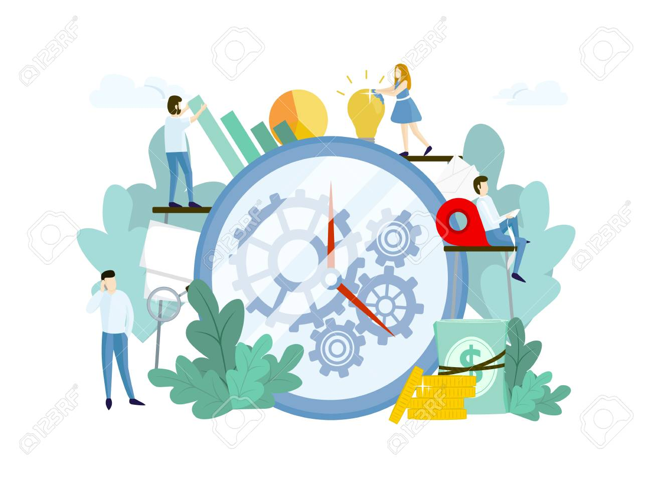 Work process with people, huge clock and gears. Teamwork concept. Vector template for websites - 125566867