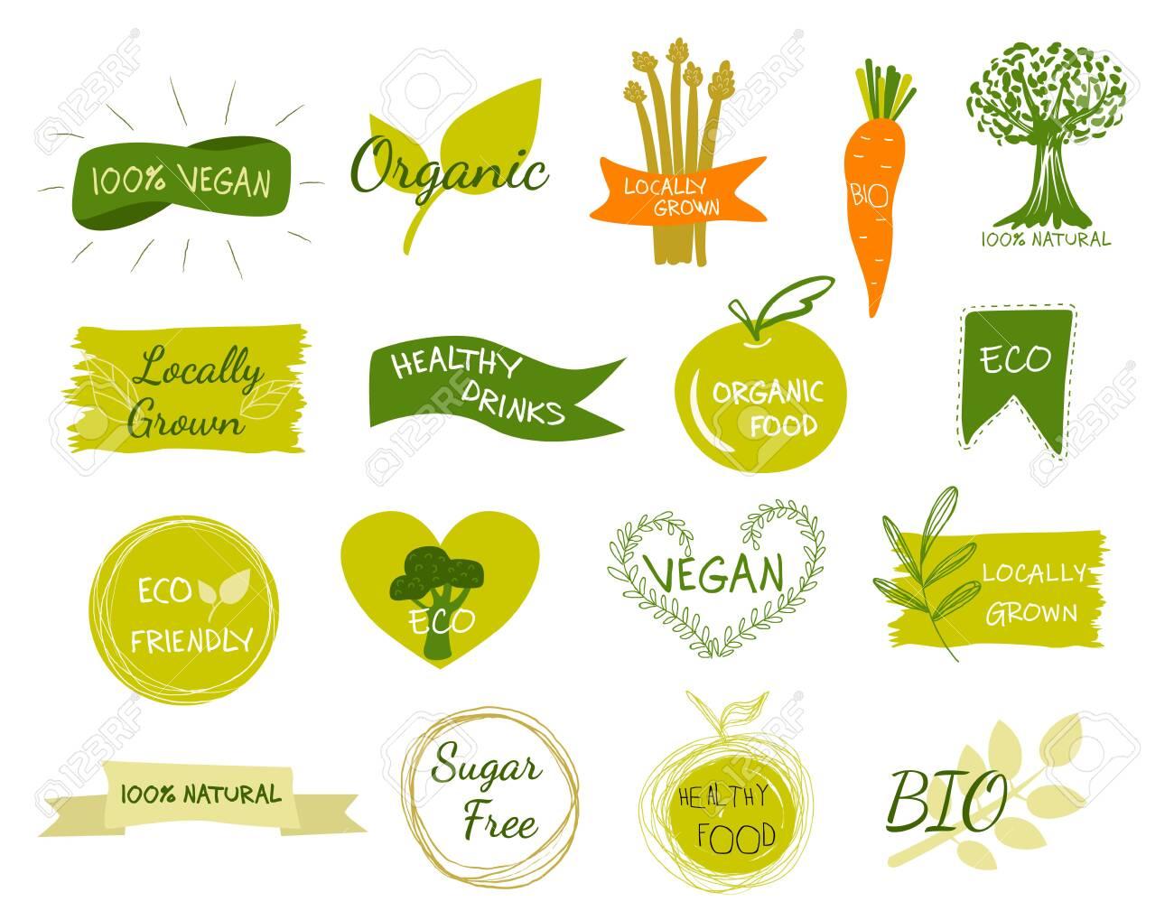 Bio, Ecology, Organic logos and icons, labels, tags. Hand drawn bio healthy food badges, set of raw, vegan, healthy food signs, organic and elements set. - 129712715