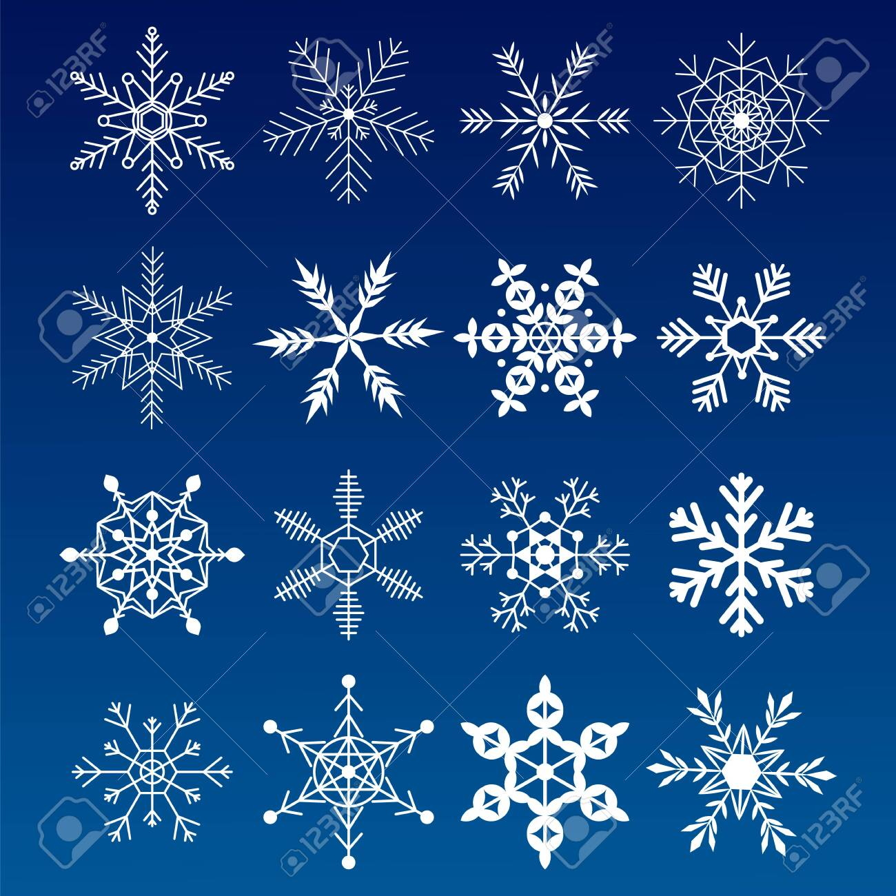 Collection snowflakes. Flat snow icons, silhouette. Nice element for Christmas banner, cards. New year ornament. - 131056276