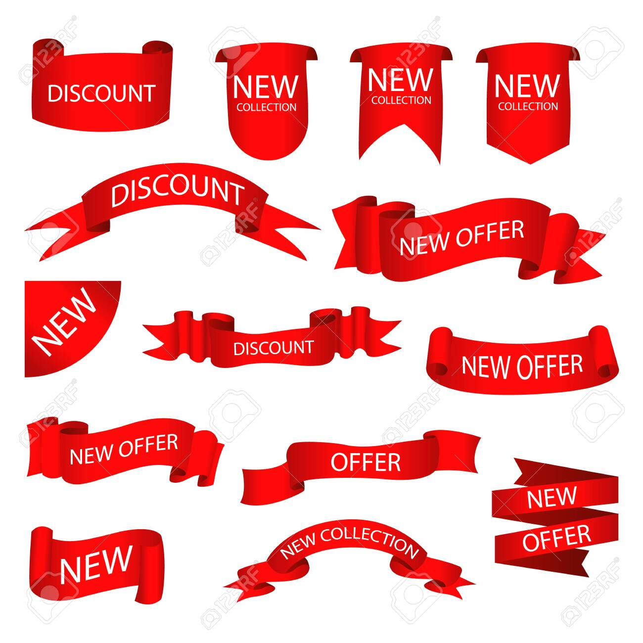 Set of tags with text. Vector badges and labels isolated. - 131056467