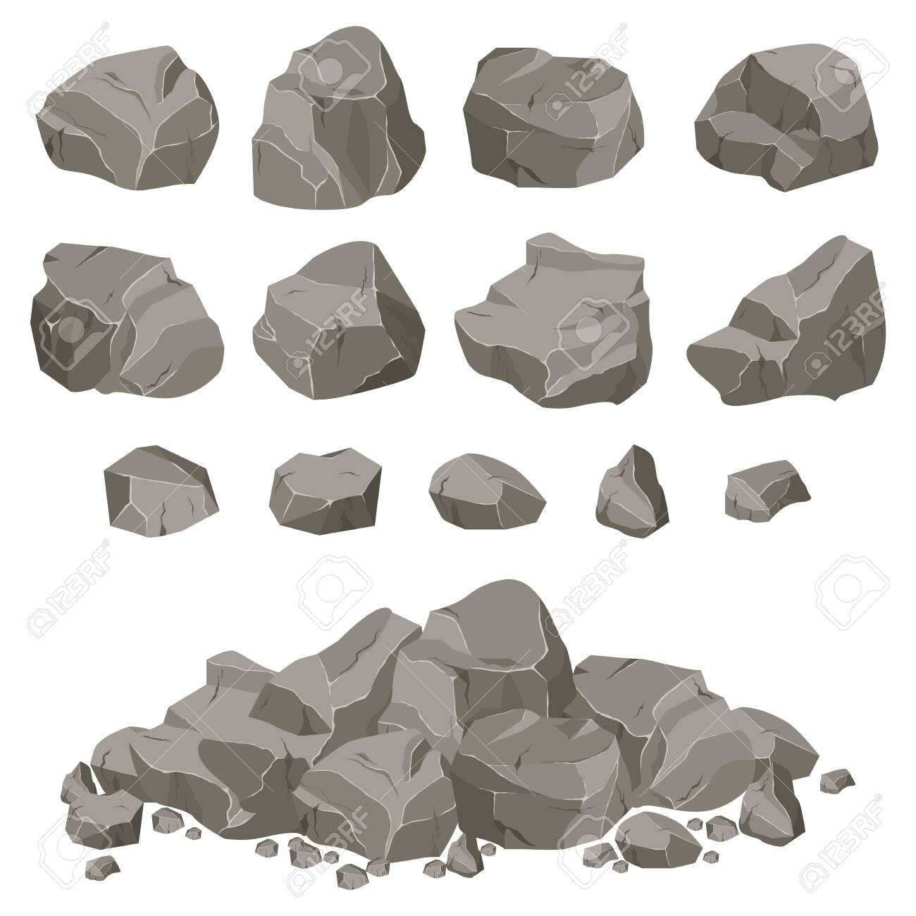 Ð¡ollection of stones of various shapes. Stones and rocks in isometric 3d flat style. - 144324723