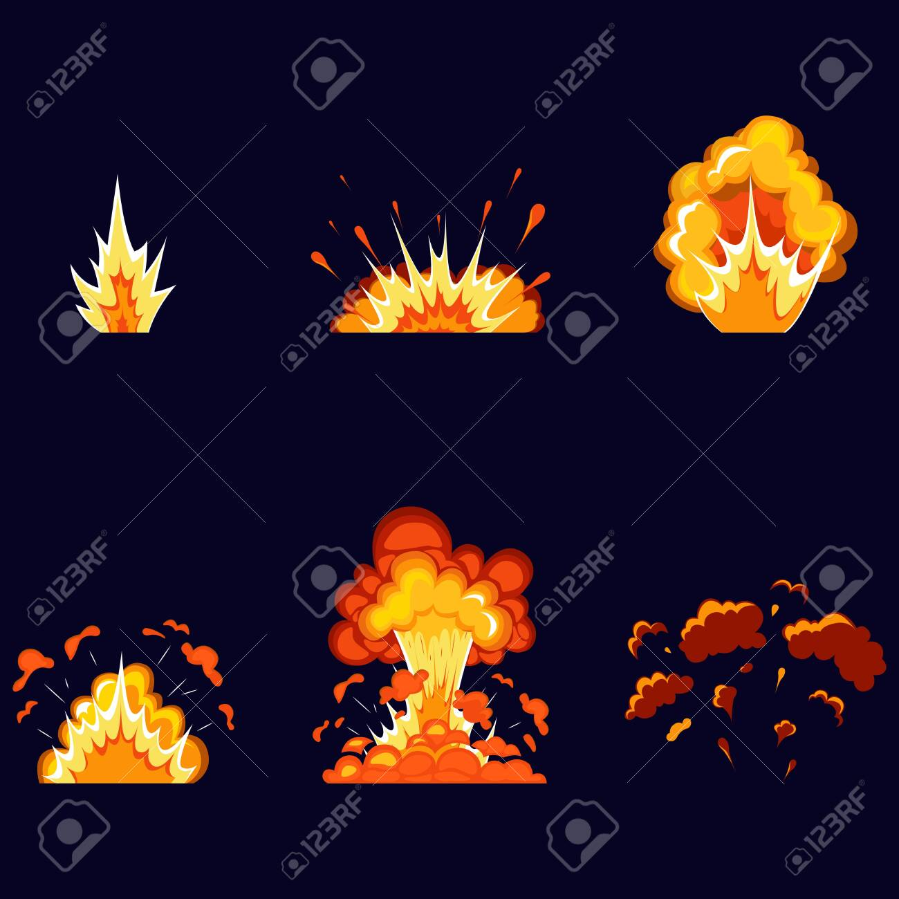 Cartoon explosion effect with smoke. Boom effect, detonate flash, comic bomb. Dynamite explosions, explosive explosions of bombs and atomic bombs, clouds, comics. - 145414608