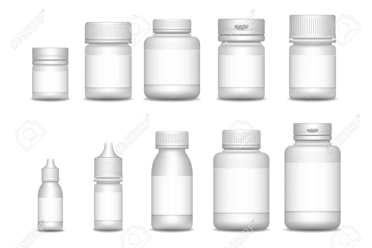 Empty pill containers. Medical Sprays. 3d blank template medical packaging for pill and liquid medication - 146568295