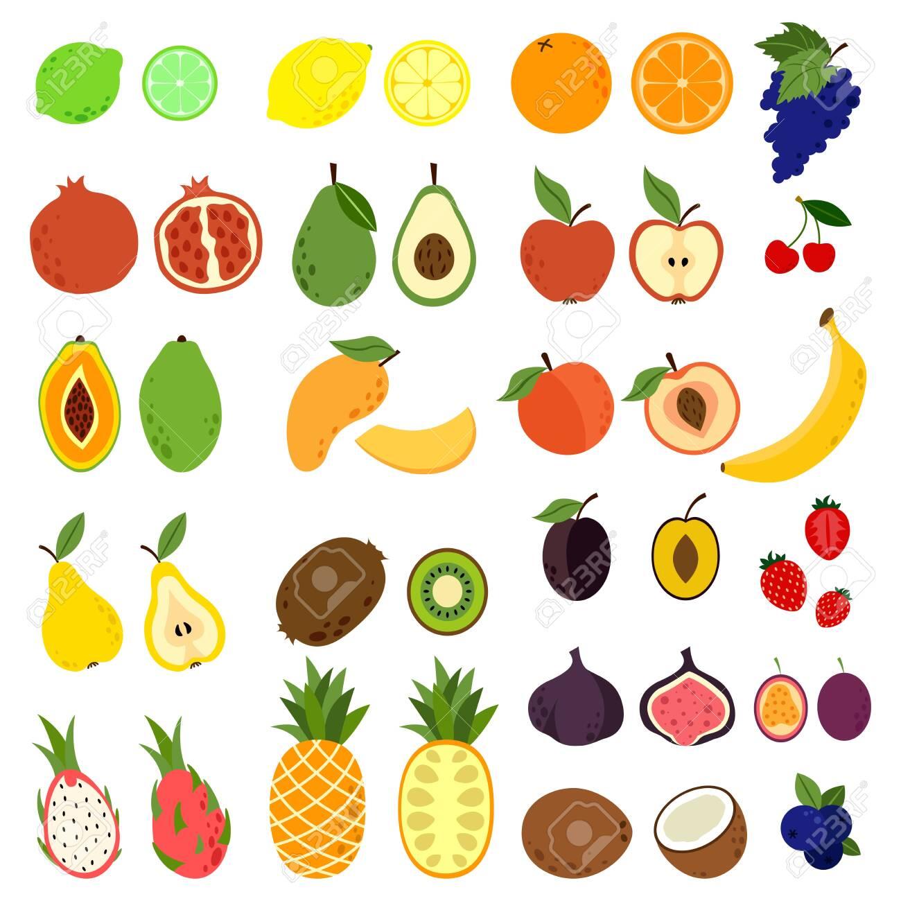 Doodle fruits. Natural tropical fruit, doodles citrus orange and vitamin lemon. Exotic Tropical organic fruit, delicious kitchen food - 147541268