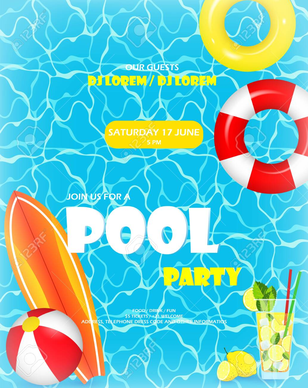 Pool party. Invitation template card. Top view of swimming pool with pool floats. Colorful swimming ring, beach ball and letters float on crystal clean water with sunny highlights - 147844083