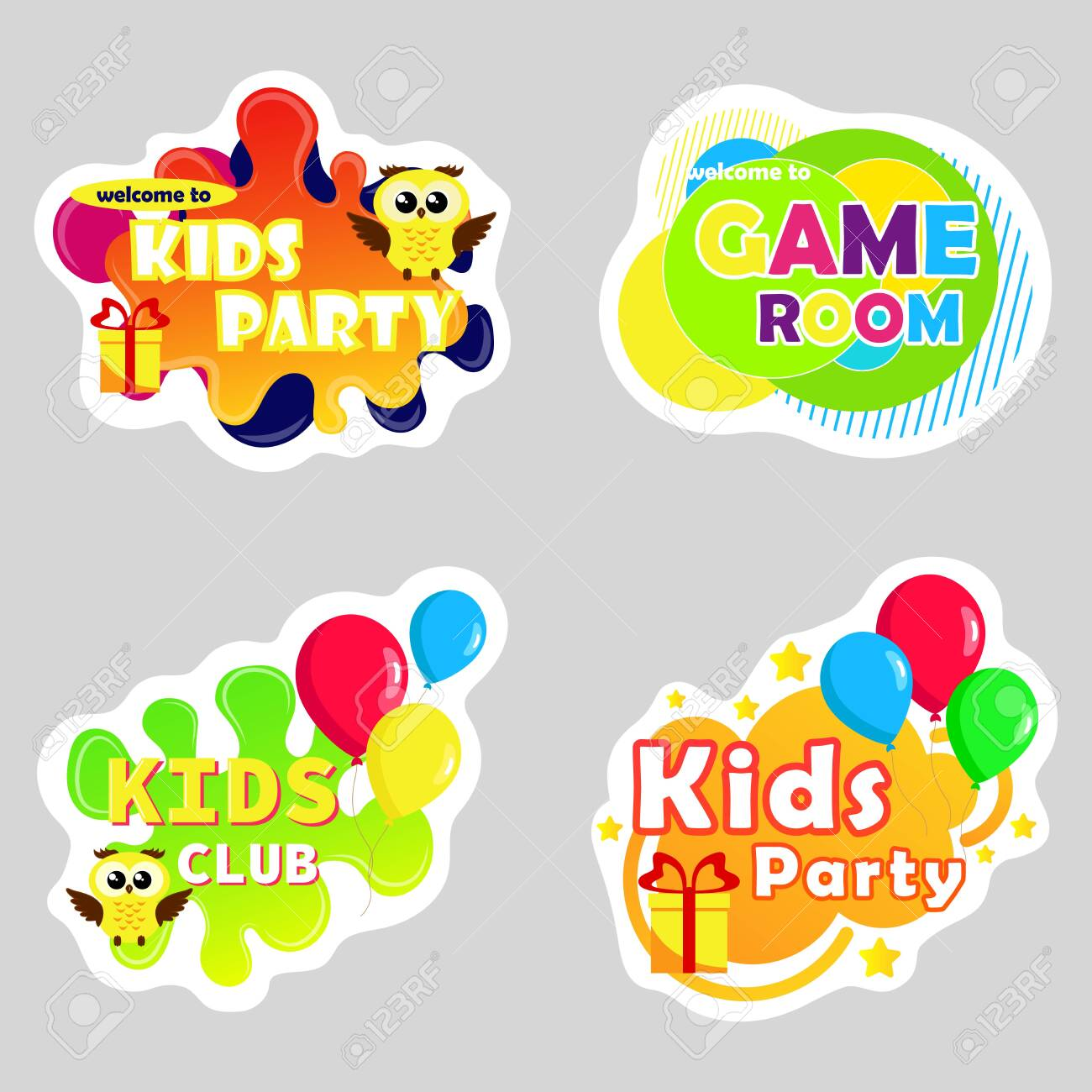Kids zone vector cartoon . Funny cartoon frames. Bright decoration element for childish party. Sign for children's game room. - 149732965