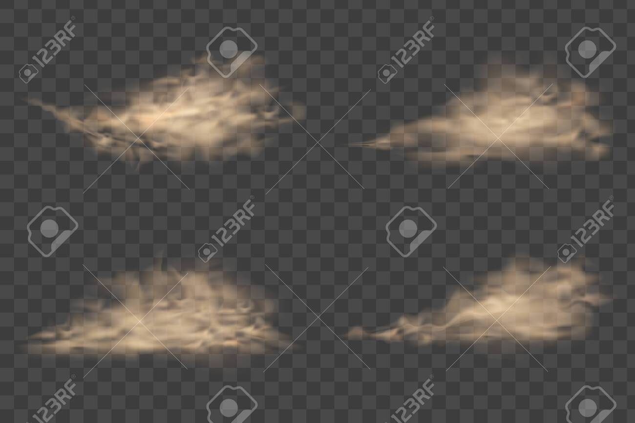 Dust cloud with flying stones and particles isolated on transparent background. Concept house cleaning, air pollution,big explosion,desert. Flying sand. Dust cloud. Sandstorm. - 151027107