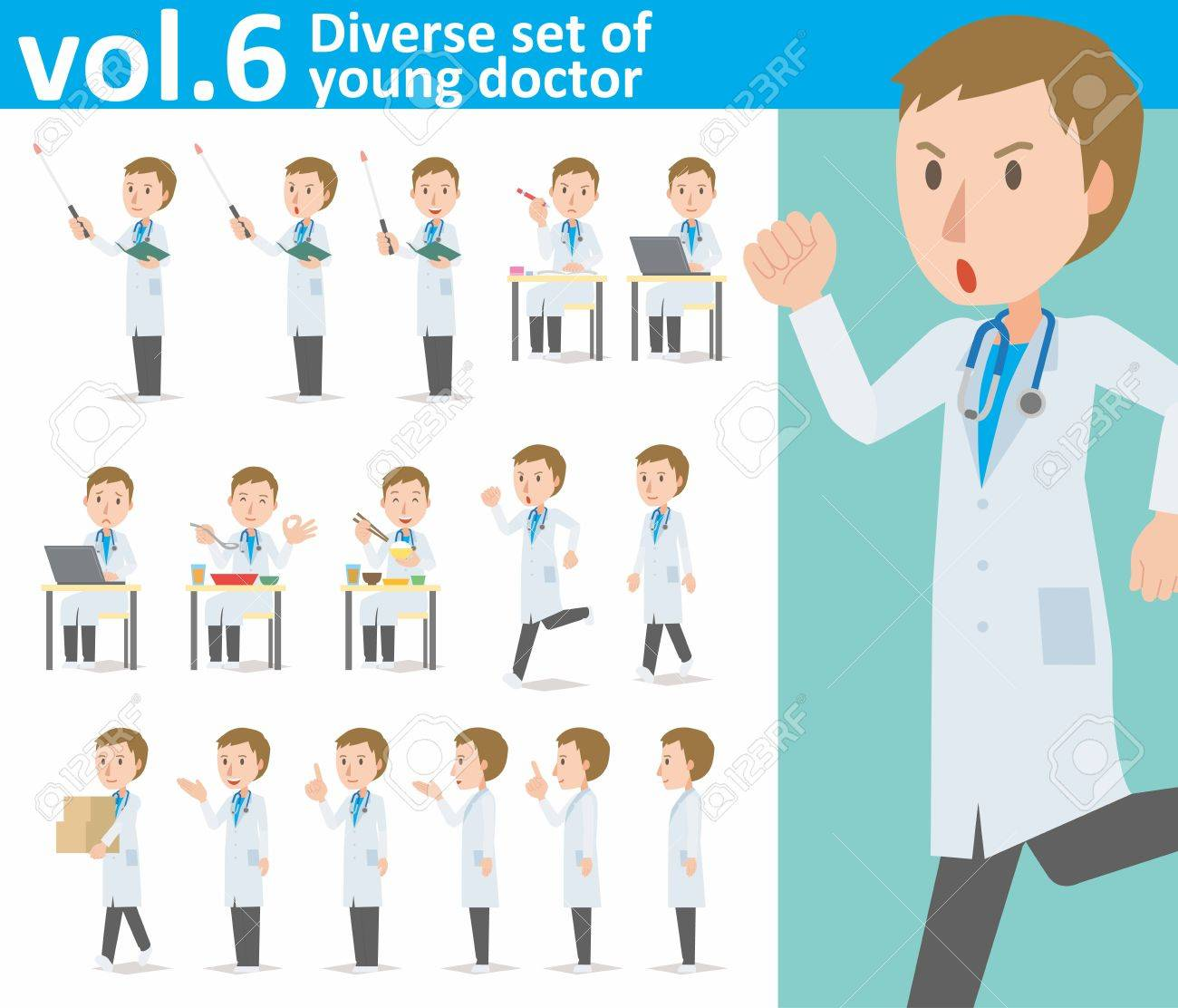 diverse set of young doctor on white background - 62103262