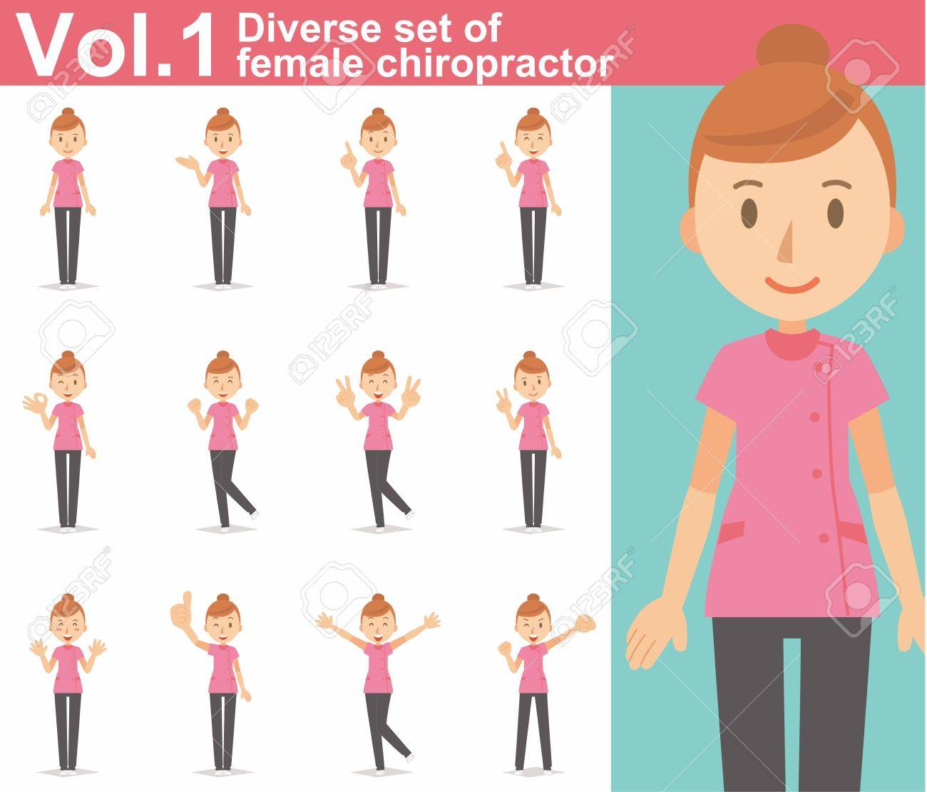 Diverse set of female chiropractor on white background - 62103361