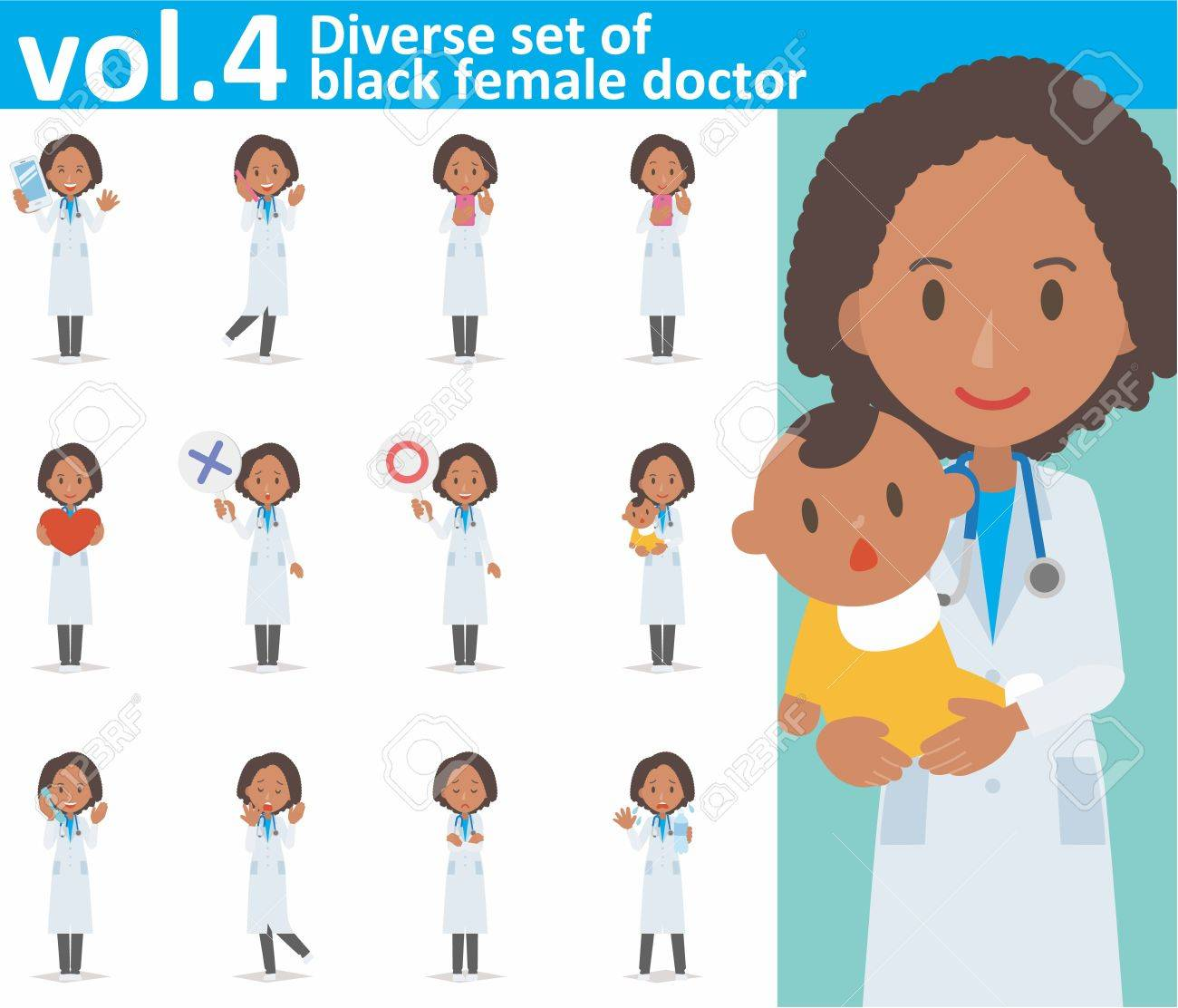 diverse set of black female doctor on white background - 62103381