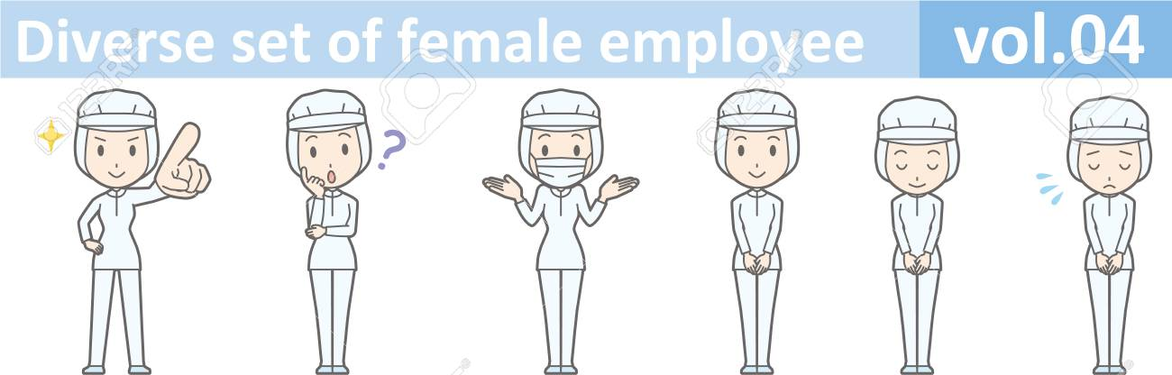 Diverse set of female employee, EPS10 vol.04 (A woman in uniform at a food factory. The mask is removable.) - 70777656