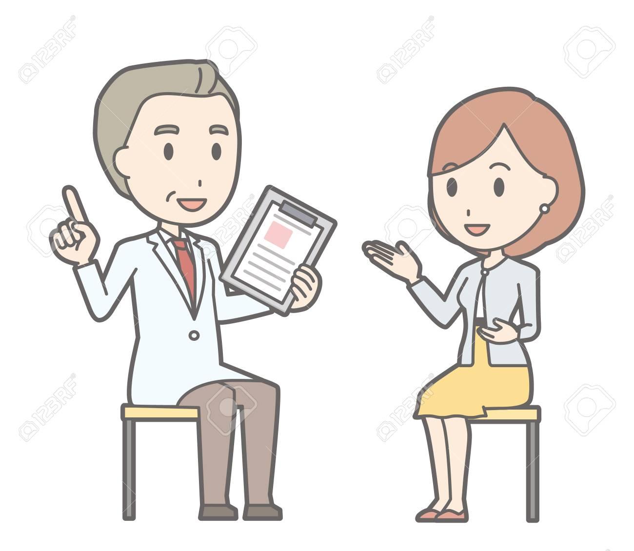 医師に相談、黄色いスカートをはいている若い女性のイラスト