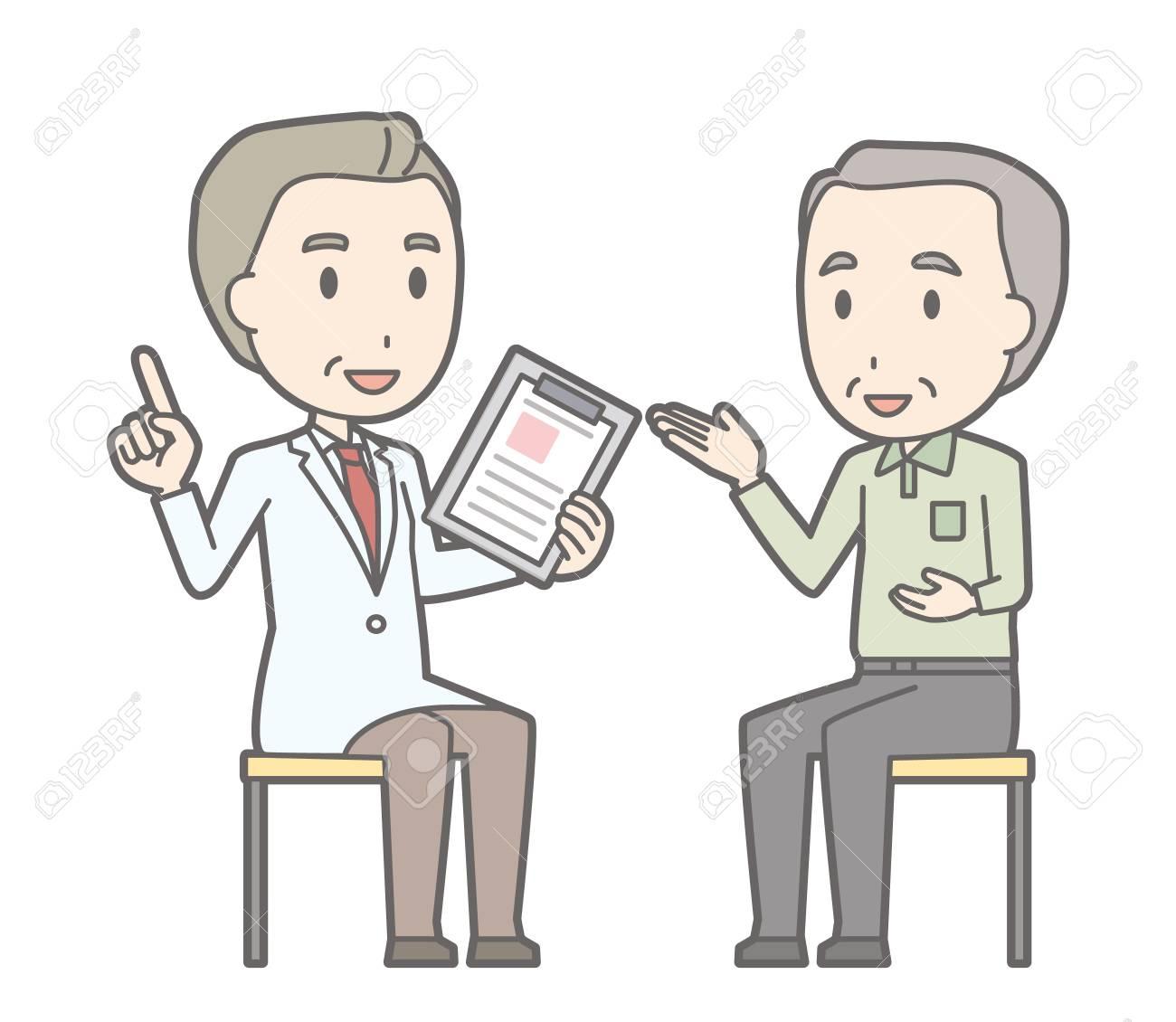 老人相談医師イラスト ロイヤリティフリークリップアート、ベクター