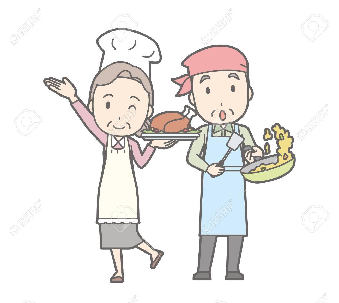古いカップル料理のイラスト。 ロイヤリティフリークリップアート