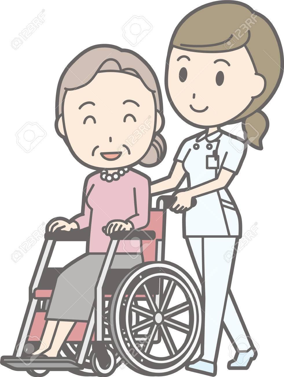 6ec414f057de09 Illustration zu Fuß von einer Krankenschwester tragen einen weißen Mantel  einen Rollstuhl auf eine ältere Frau