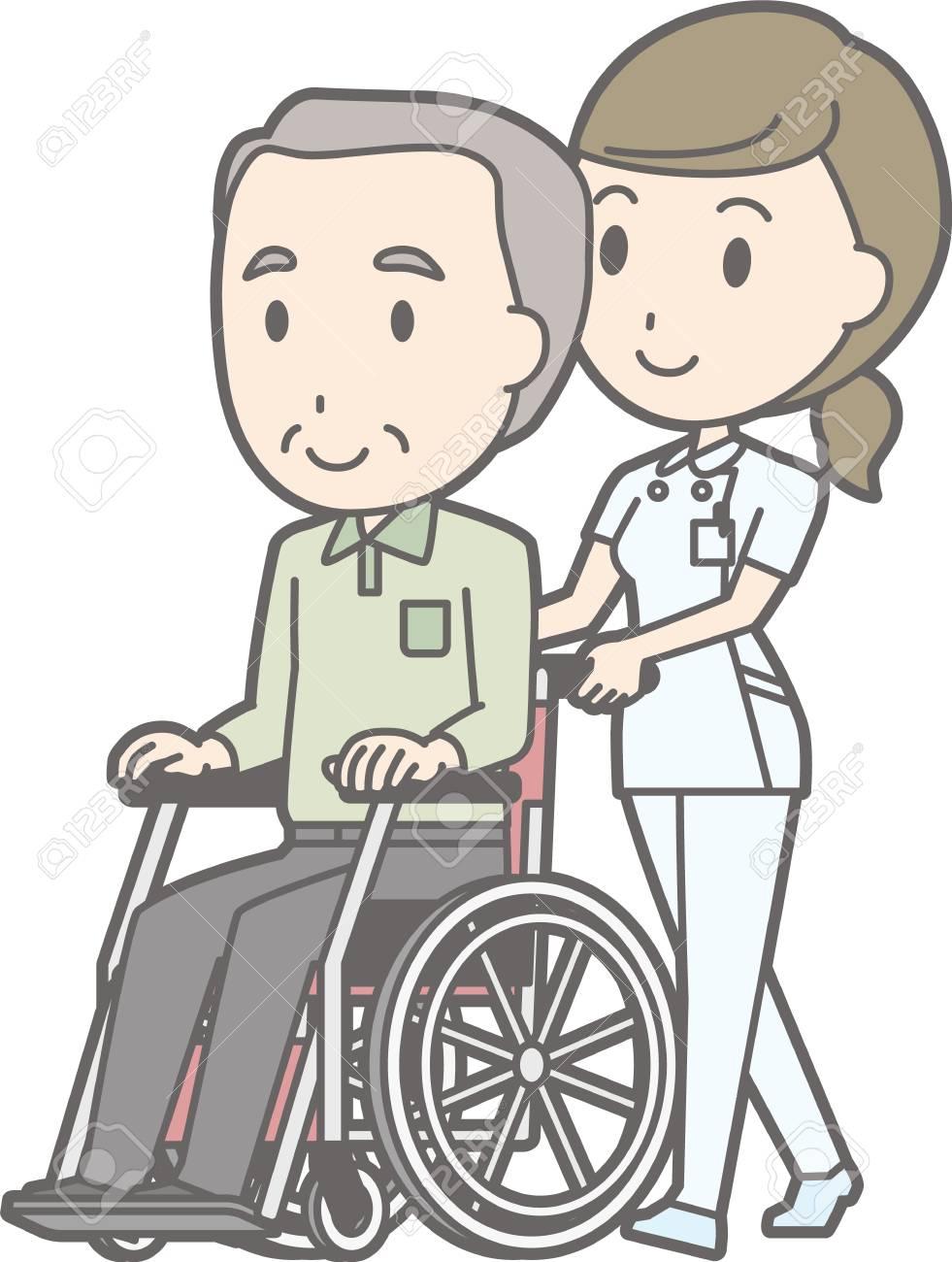 b126cd67686487 Illustration zu Fuß von einer Krankenschwester tragen einen weißen Mantel  schieben einen Rollstuhl mit einem alten