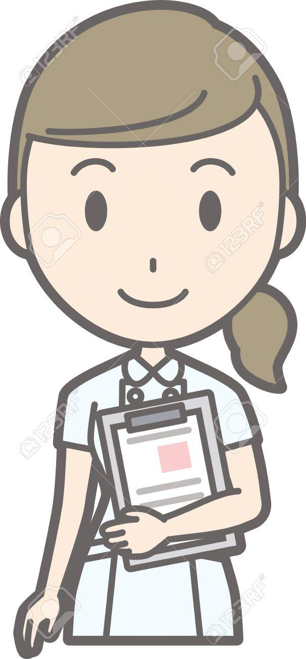 Illustration of a nurse wearing a white coat standing with a chart - 83687647